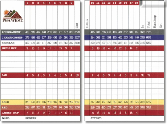 PGA West Norman Course Scorecard