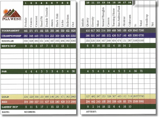 PGA West Stadium Scorecard